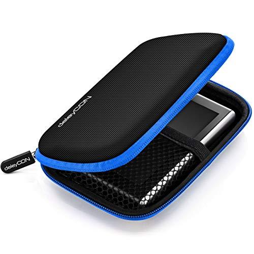 deleyCON Navi Tasche Navi Hülle Tasche für Navigationsgeräte - 4,3 Zoll und 5 Zoll (14,6x9,3x3,4cm) - Robust Stoßsicher 2 Innenfächer - Blau