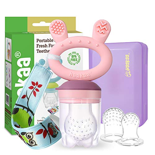 Baby Fruit Food Feeder Pacifier - Haakaa Silicone Feeder and Teether All in One,BPA Free Teething Relief Toy with Teether Clip&Travel Case (Pink)