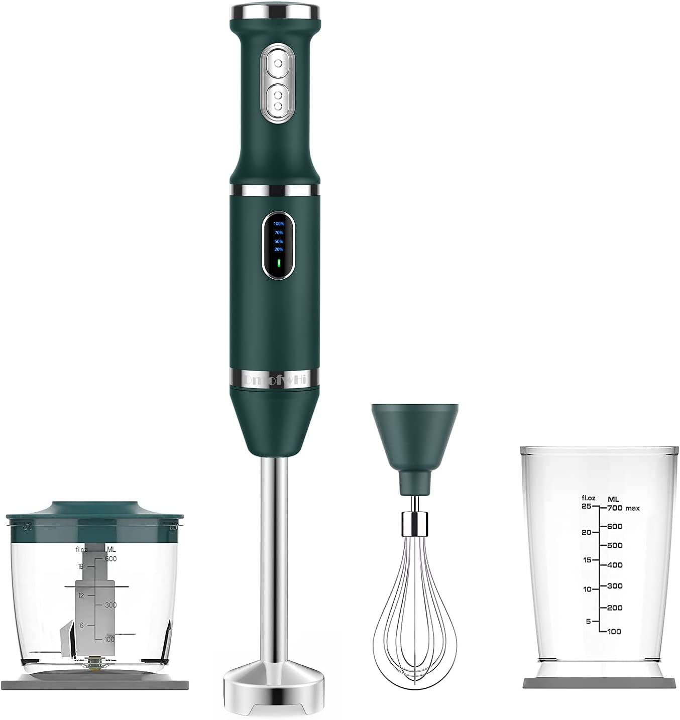 Cordless Hand Blender Electric, DmofwHi USB-C Rechargeable Immersion Blender with Whisk,Chopper and Beaker,2 Speed, 4-in-1 Handheld Stick Blender for Smoothies,Puree, Sauces-Green