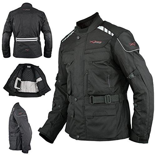 A-Pro Motorradjacke Roller Textil Thermoweste Wasserdichte Touring Schwarz L