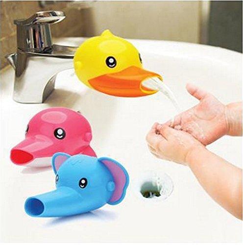 Amoy.B Super niedliche und praktische Kinder-Waschbecken Wasserhahn-Verlängerung *1, Ente Gelb, 1