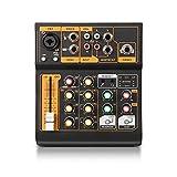 AFYH Mesas de Mezclas de Estudio, Mezclador de Audio portátil de 4 Canales, Consola de música para DJ con XLR con alimentación Fantasma de 48 V para un Programa Web de DJ en Vivo