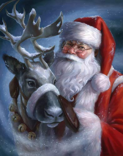Diamond Painting Christmas,Diamond Art Kits for Adults Santa Claus Full Drill Paint by Number Christmas Art and Crafts Home Decor (Canvas Size 11.8x15.8 Inch)