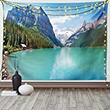 Ambesonne Landscape Tapestry, Mountain and Lake Louise Panorama Banff...