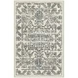 Maples Rugs Distressed Tapestry Vintage Kitchen Rugs Non Skid Accent Area Floor Mat [Made in USA], 2'6 x 3'10, Neutral