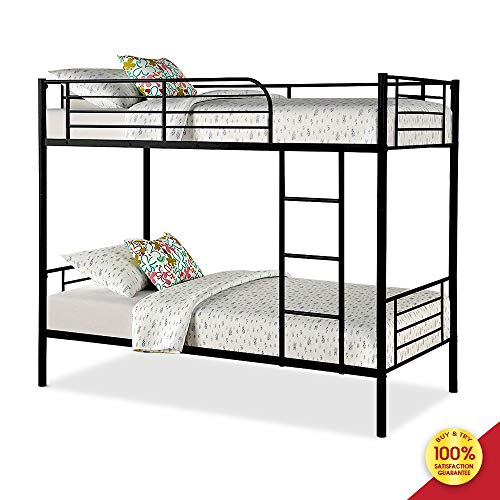 Bunk Bed Frame Metal Twin Bedstock With Ladder And Guardrail Fits For Single Mattress Perfect For Adults Children Teenagers Black Buy Online In United Arab Emirates At Desertcart Ae Productid 165325434