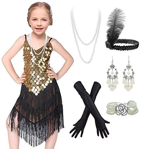 Vestido infantil de dança latina com borlas brilhantes para meninas dos anos 20, Preto, dourado, XG