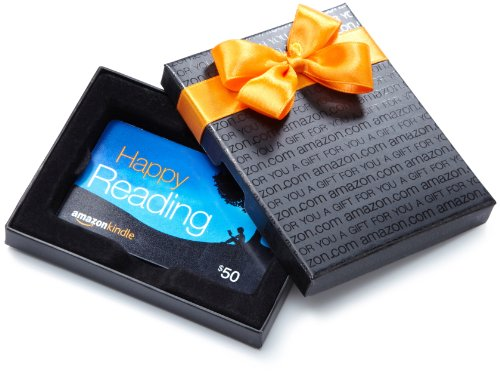 Amazon.com $50 Gift Card in a Black Gift Box (Amazon Kindle Card Design)