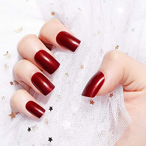 LIARTY 24 stücke Künstliche Falsche Nägel Weinrot Quadrat Medium Gefälschte Nägel Tipps Volle Abdeckung Nägel Für Mädchen Frauen