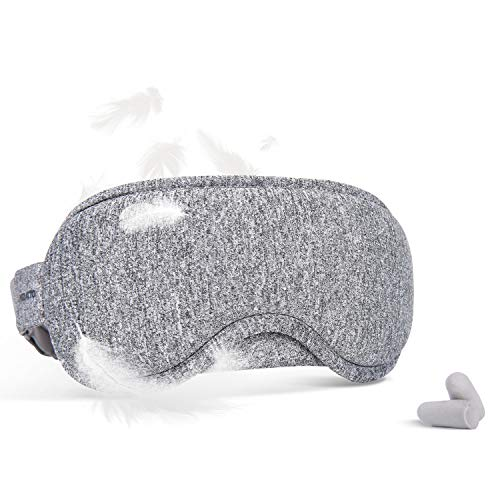 Eye Mask for Sleeping, Soft Comfortable Cotton Weighted Sleep Mask with Earplugs for Air Travel (Gray)