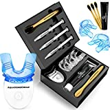 AquaHomeGroup Teeth Whitening Kit with LED Light - Snow Teeth Whitener Set with Charcoal Toothpaste and Brushes - Tooth Whitening System All in One Carbamide Peroxide 3 X 3ml Gel Syringes