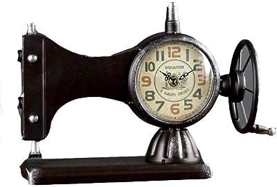 Reloj de escritorio y mesa para el hogar, estilo retro, máquina de coser antigua, para sala