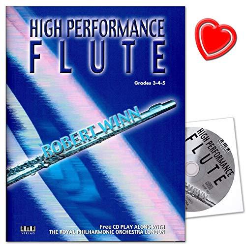 Flûte traversière haute performance - 80 morceaux - Série AMA de Robert Winn - De baroque au classique au jazz et Gospel - Avec CD, pince pour partitions en forme de cœur colorée