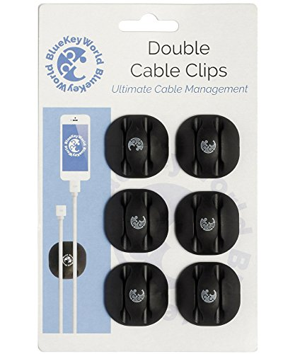 Cable Clips - Cord Holders - Wire Hooks - Clutter Free Desk in Minutes, No More Lost Wires on Floor - 6 Pack - Cord Management and Organizer - Desk, Home, Office, Cubicle, Nightstand, Car - Gift Idea