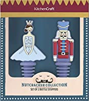kitchen craft kcxmwst2pk the nutcracker collection christmas novelty bottle stoppers, silicone, multicolore