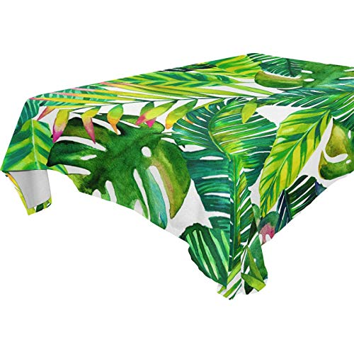 LUCKYEAH Tropical Palm Leaf Pattern Table Cloth Washable Square Table Cover Polyester Tablecloths Rectangular for Indoor Patio Kitchen Picnic Outdoor, 54x54inch