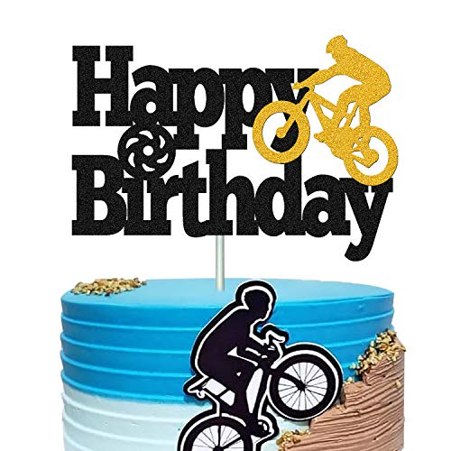 Bicycle Cake Topper Happy Birthday Bike Cake Decorations for Kids Boy Girl Sport Themed Bday Party Supplies Black Sparkle Decor Double Sided