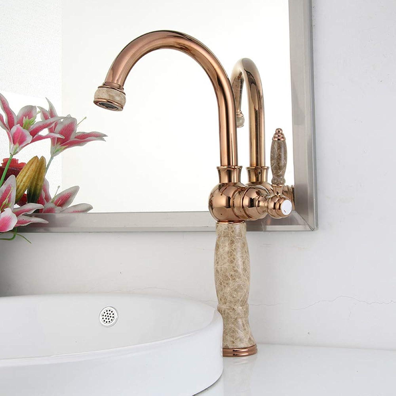 Antiker erhhender Hahn, heier und kalter justierbarer Bassinhahn mit Filtersprudler für Badezimmerküchen-Hotelhauptdekoration