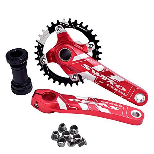 1 Set Guarnitura MTB Bici Ruota Dentata 170Mm 32T 34T 36 38T Movimento Centrale Guarnitura Vestito Per 9-11 Velocità 38 T/Rosso