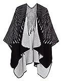 Chales y Abrigos Delanteros Cálidos Abiertos para Mujer Chamarra Elegante Ponchos Cape Poncho (## 2 Negro)