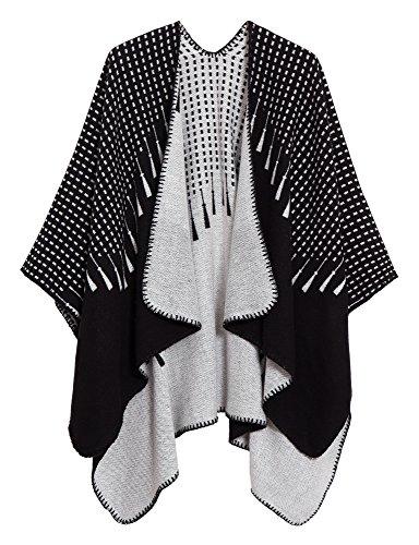Urban CoCo Women's Color Block Shawl Wrap Open Front Poncho Cape (Series 16-Black)