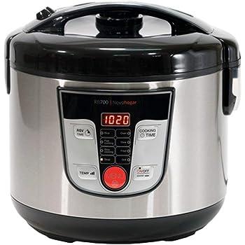 Novohogar Robot de Cocina Multifunción, Programable 24H. Cubeta Antiadherente 5L; 10 Comensales. Recetario, Pantalla Digital, 8 Menús, 8 Programas Automáticos: Cocina al Vapor, a Fuego Lento (Negro): Amazon.es: Hogar