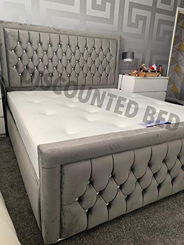 """Discounted Beds Stylish handcrafted upholstered bed, with a stunning 48""""(height) headboard included finished in a regal plush velvet material. (3ft, 4ft, 4ft6, 5ft, 6ft) (Single 3ft)"""