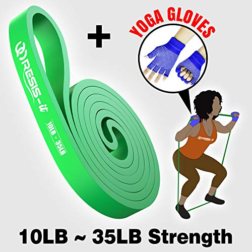 RESIS-it: 35lb Long & Thick Elastic Resistance Band for Men/Women, Great for Fitness Workout Exercise, Best for Yoga/Stretch/Pull-Up Assist, Designed for Powerlifting/Crossfit. Included: Yoga Gloves