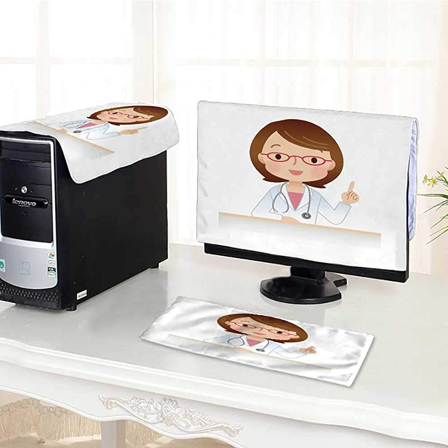 UHOO2018 Computer Three-Piece dust Cover Woman Doctor Explain Protect Your Computer /28
