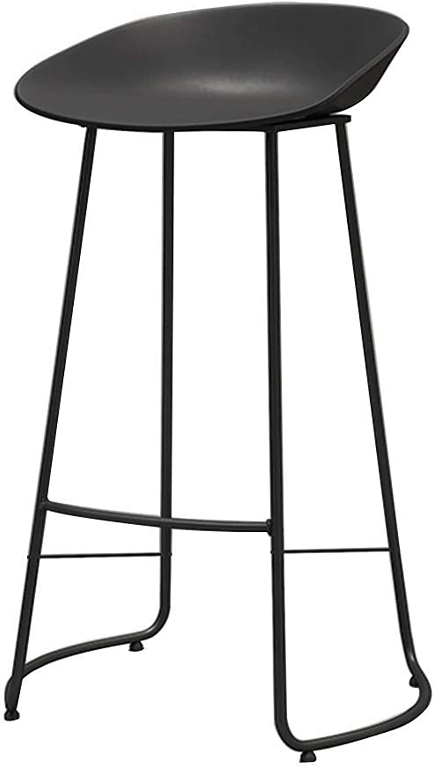 Iron Nordic Fashion Bar Stool Chair Home Kitchen Casual Cafe Front Desk Bar Stool Bar Cafe HENGXIAO (color   Black)