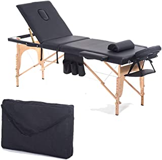 3 Section Massage Bed Portable Salon Furniture Wooden Bed Foldable Beauty Body Facial Spa Tattoo Thai Massage Bed