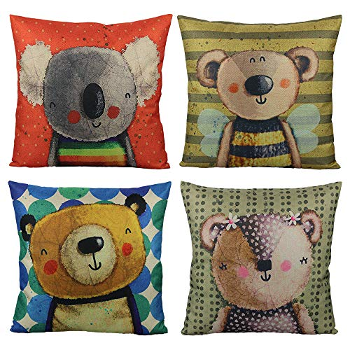 VAKADO Kids Cartoon Decorative Throw Pillow Covers Cute Animal Colorful Bear Koala Home Decor Outdoor Cushion Cases for Children Room Sofa Couch 18X18 Set of 4