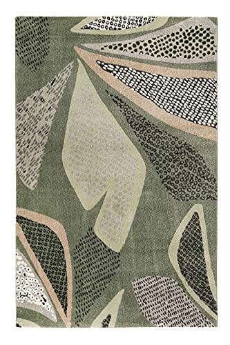 Esprit Home - Alfombra de pelo corto suave y moderna, perfecta para el salón y el dormitorio, muy fácil de limpiar, color gris y verde (80 x 150 cm)