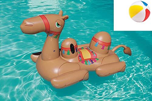 Aufblasbare Pool Tiere Kamel Tier Wassertier Schwimmtier Luftmatratze Wassermatratze Badeinsel Reittier mit Haltegriffe für Pool See Wasser-Spielzeug