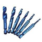 ESUHUANG 6pcs M3-M10 combinación Taladro Tap bit Set HSS 6542 Azul Na sin Coated Brocas Desbarbe avellanado for la Herramienta de Mano de Bricolaje carpintería Broca Industrial minorista