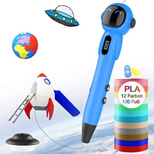 3D Stift für Kinder,OLICTAR 3D Druckstift mit 12 Farben 1,75mm 120ft PLA Filament LCD Display 3D Stifte für Kinder,Erwachsene,alle Jahre Anfänger (Blau)