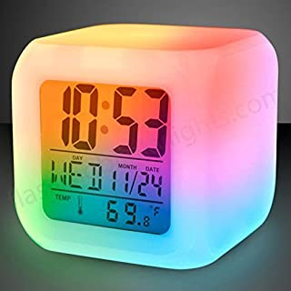 Color Changing Digital Alarm Clock & Thermometer / 7 LED Colors