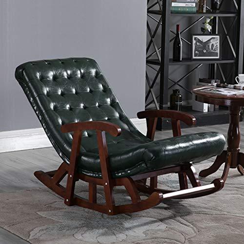 HYYTY-Y Einzelner Schaukelstuhl aus Leder, Massivholz mit Armlehnen-Sofa Lounge Chair - Braun/Grün/Weiß/Gelb 617-YY (Color : Green)