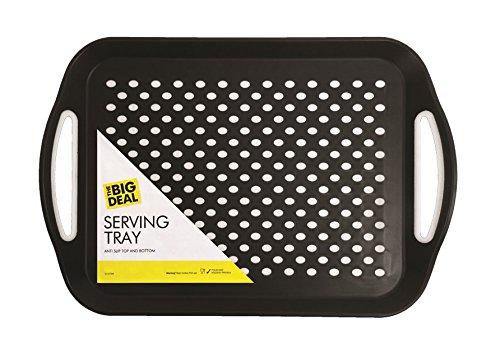 iTP 1 Plateau rectangulaire antidérapant, Noir ou Blanc, Couleur au Choix - pour déjeuner/dîner/Boissons
