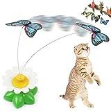 NingTeng Interactivo eléctrico giratorio de mariposa de flores de acero alambre gato teaser mosca de caza de juguete para mascotas