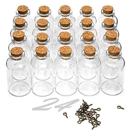ARTESTAR 24 Mini Botellas de Deseo, Bote de Cristal con Tapón de Corcho, Frasco de Muestra para Mensajes, Decoración de Boda (Pack Pequeño, 30 x 60mm)