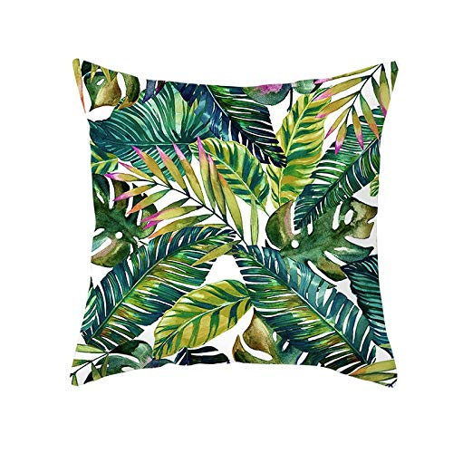 Tropical Plant Pillowcase, Polyester Decorative Pillowcase, Green Leaf Hug illowcase, Sofa Pillow Decorative Cover