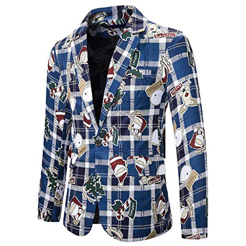 Blazer Hombre Navideño Estampadas Casual Slim fit Chaquetas con Estampado Navideño Invierno para Hombre Blusas de Manga Larga Cuadros con Bolsillo