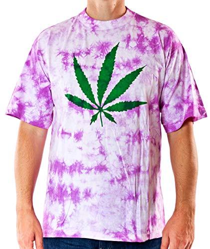T-Shirt Hanfblatt Batik pink/weiß Baumwolle Siebdruck Größe XL Original 1990er Jahre Fun-Shirt Fasching Karneval