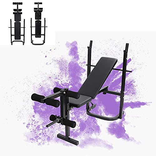 440lbs Adjustable Weight Bench with Squat Rack, Foldable Workout Bench with Leg Extension and Preacher Curl for Full-Body Exercise and Strength Training, Weight Lifting Bench Press for Home Gym (Black)