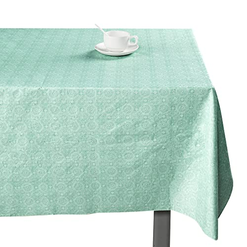 BUBIQUER Flannel Backed Vinyl Tablecloth, Waterproof and Oil Proof, Easy to Scrub, Durable and Stable, Table Cover for Indoor and Outdoor Decoration (Green, 60 x 60 Inch)