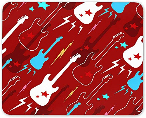 Funky Red Guitar Mouse Mat Pad - Electric Guitars Music Fun Gift Computer #13133