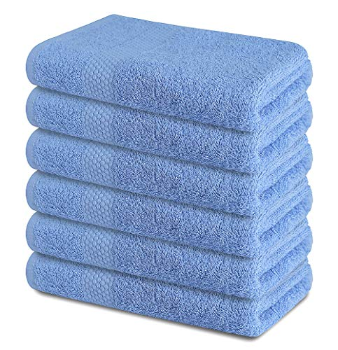 """SOFTILE COLLECTION Cotton Bath Towels Set Ultra Soft 100% Cotton Large Bath Towel - Grey 24"""" x 48"""" Pack of 6 Grey Highly Absorbent Daily Usage Bath Towel Ideal for Pool Home Gym Spa Hotel-(Blue)"""