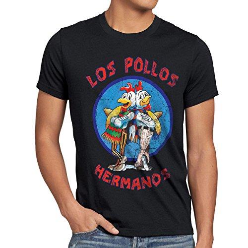 style3 Los Pollos T-Shirt Herren, Größe:L, Farbe:Schwarz