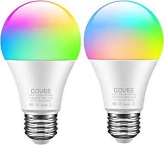Govee WiFi Smart Light Bulb Works with Alexa and Google Assistant, 500lm RGBWW Color Changing Light Bulb 50W Equivalent LED Light Bulb for Home, Party, Stage, Bar (Only Supports 2.4 GHz WiFi, 2 Packs)
